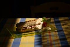 Sandwic on table. Sandwic ham and cheese on table royalty free stock photo
