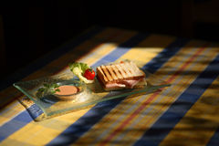 Sandwic on table. Snack sandwic on table colored cloth royalty free stock photo