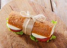 Sandwich à baguette avec du mozzarella Photos stock