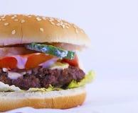 Sandwich à beefburger avec la pomme de terre Photographie stock libre de droits