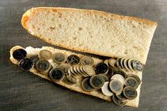 sandwich à carte de concept de pain euro photo stock