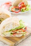 Sandwich à ciabatta avec du fromage Photographie stock