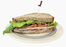 Sandwich à club fait maison avec le cure-dents de fantaisie photos stock