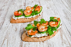 Sandwich à crevette Photo libre de droits