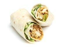 Sandwich à enveloppe de Tikka de poulet photographie stock libre de droits