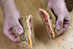 Sandwich à fixation de main Photos libres de droits