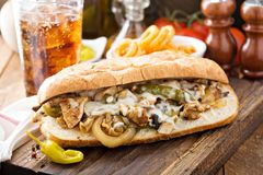 Sandwich à fonte de poulet photographie stock