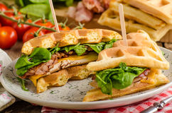 Sandwich à gaufres photographie stock
