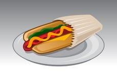 Sandwich à hot-dog dans un sac de papier Photo libre de droits