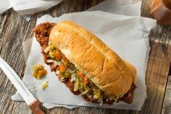 Sandwich à la viande pané fait maison de Chicago image libre de droits