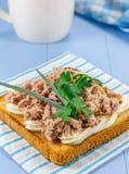 Sandwich à petit déjeuner avec le thon et le feuillage photographie stock libre de droits