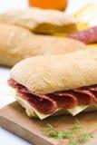 Sandwich à salami et à fromage Photo stock