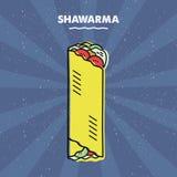 Sandwich à Shawarma, gril, viande, menu de restaurant Image stock