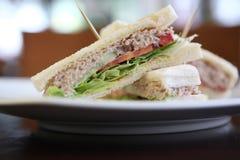 Sandwich à thon sur le fond en bois images stock