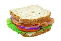 Sandwich à Turquie fumé d'isolement sur le blanc Photos stock