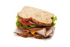Sandwich à Turquie sur le fond blanc images stock