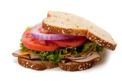 Sandwich à Turquie sur le pain entier de texture image stock