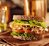 Sandwich à viande d'épicerie avec la dinde Photos libres de droits