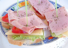 Sandwich. Sandwich with cheese and bacon Stock Images
