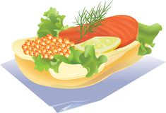 Sandwich. With red caviar and fish, on a napkin. vector. illustration Stock Photos