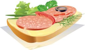 Sandwich. Appetizing sandwich with sausage, on a napkin. vector. illustration Stock Photo