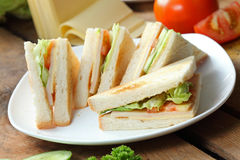 Sandwich. Tuna sandwiches with cheese served fresh Royalty Free Stock Photo