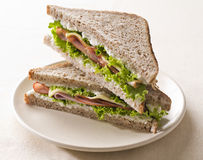 Sandwich. Fresh toast sandwich with ham and cheese close up shoot royalty free stock photography