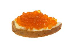 Sandwich. Sandwich with red caviar on a white background Stock Photo
