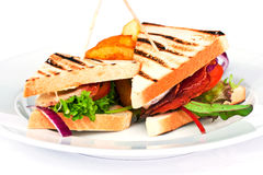 Sandwich. With potato on a plate Stock Photo