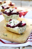 Sandwich. Es with beetroot and goat's cheese and thyme Royalty Free Stock Photo