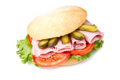 Sandwich. Es with ham and vegetables on white background Stock Photos
