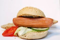 Sandwich. From sausage and vegetables Royalty Free Stock Images