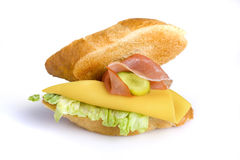 Sandwich. With cheese and ham Stock Photos
