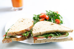 Sandwich. A healthy served sandwich with juice Stock Photography