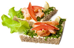 Sandwich. With boiled red fish on a white background Royalty Free Stock Photo