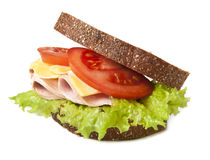 Sandwich. Healthy ham sandwich with cheese, tomatoes and lettuce Royalty Free Stock Images