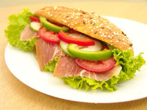 Sandwich. Ham sandwich with green salad leaf stock image