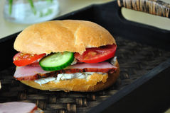 Sandwich. Tasty, healthy, bio sandwich made with pastrami, goat cheese, tomatoes, cucumbers Stock Photo