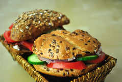 Sandwich. Tasty, healthy, bio sandwich made with pastrami, goat cheese, tomatoes, cucumbers Stock Images