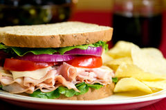 Sandwich. A healthy fresh turkey sandwich with swiss cheese, lettuce, tomato and onions Royalty Free Stock Images