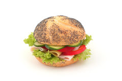 Sandwich. Ham, cucumber, paprika and salad sandwich isolated on white Royalty Free Stock Photography