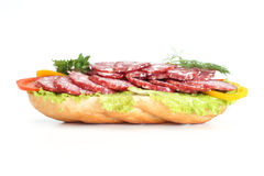 Sandwich. With sausage, pepper, a tomato Stock Photos