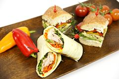 Sandwich. Various sandwich with vegetables in the wood plate Stock Photo