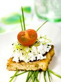Sandwich. With cottage cheese and fresh vegetables Royalty Free Stock Images
