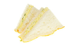 Sandwich. Egg mayonnaise and cress sandwich isolated on white royalty free stock photography