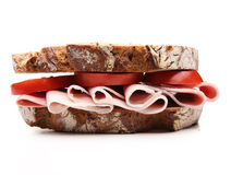 Sandwich. With ham and tomato stock photos