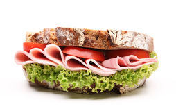 Sandwich. With bread and ham stock photography