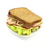 Sandwich. With ham, cheese and vegetables on a white background Royalty Free Stock Photos