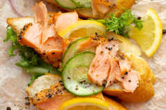 Sandwich with addition of smoked salmon, cucumber, lemon and black pepper Stock Images