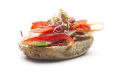 Sandwich aperto Fotografie Stock Libere da Diritti